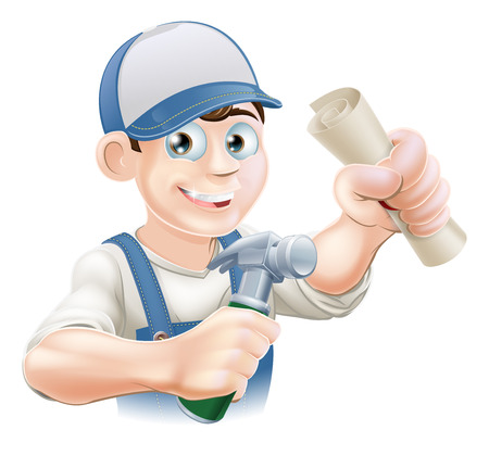 certificated: Builder or carpenter with certificate, qualification or other scroll and hammer. Education concept for being professionally qualified or certificated.  Illustration
