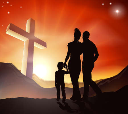 christian cross: A Christian family walking towards a cross in a mountain landscape with sunrise over mountains, Christian lifestyle concept