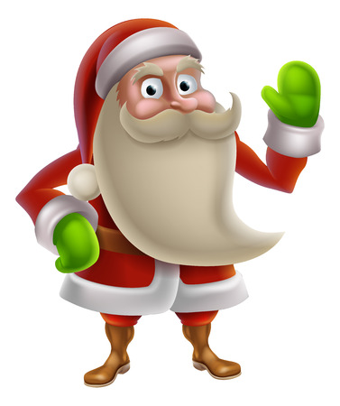 Illustration of a cartoon Christmas Santa charcter waving Vector