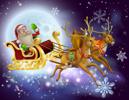 chrismas background: A Santa Claus sleigh Christmas scene of Santa Claus flying through the air on his sled being pulled by reindeer with snowflakes and full moon Illustration