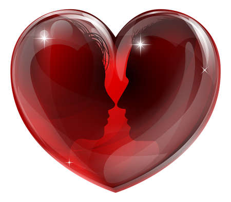 Man and woman in love, faces in profile facing each other in a glossy heart shape Vector