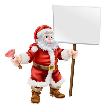 blank billboard: Cartoon illustration of Santa holding a spanner and sign, great for mechanic, plumber or hardware shop Christmas sale or promotion Illustration