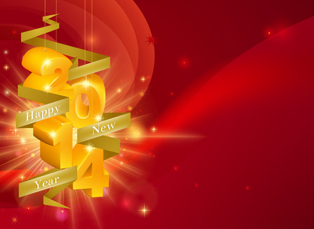 A Happy New Year 2014 Background with 3d ornaments with the year on them and a ribbon reading Happy New Year, framing copyspace on the right