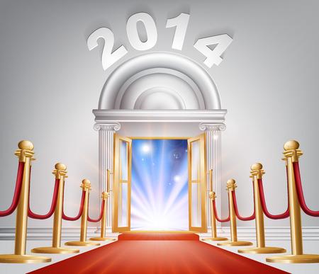 terciopelo azul: Un ejemplo de una puerta buscando elegante con alfombra roja y los n�meros de 2014 por encima de ella. Un concepto de A�o Nuevo para el �xito en el a�o 2014 o la esperanza de un futuro feliz. Vectores