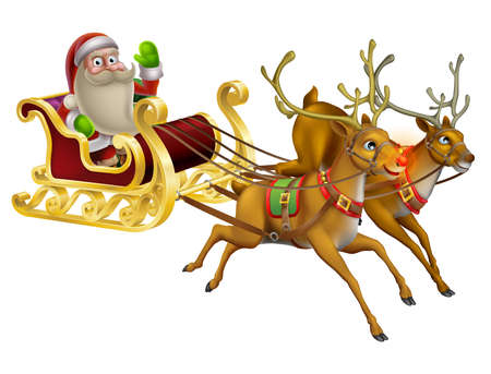 rain cartoon: A Santa Claus Christmas Sleigh illustration with Santa Claus riding in his Christmas sleigh Illustration