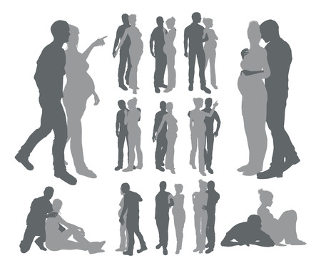 High quality detailed silhouettes of a young couple with pregnant woman in various poses Vector