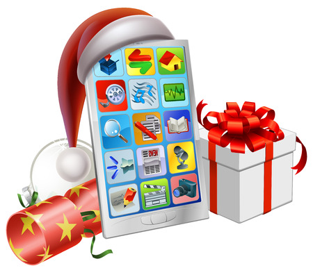 A mobile phone wearing a Santa hat with Christmas bauble, cracker and gift Vector