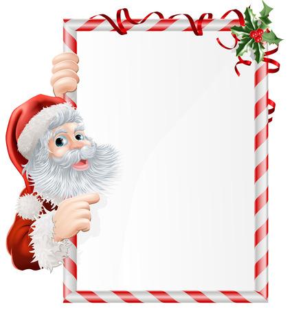 schriftrolle: Cartoon Santa auf Weihnachten Zeichen mit Zweige der Stechpalme geschmückt Illustration