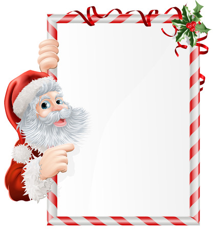scroll banner: Cartoon Santa pointing at  at Christmas sign decorated with sprigs of holly Illustration
