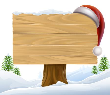 산타 모자: 산타 모자는 백그라운드에서 나무와 겨울 장면에 매달려 크리스마스 나무 기호