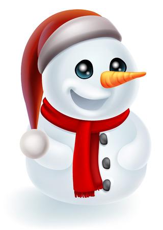 palle di neve: Illustrazione di un cartone animato pupazzo di neve di Natale in un cappello di Babbo Natale e sciarpa rossa Vettoriali