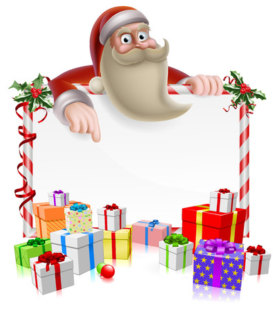 Santa peeking over a Christmas banner surrounded by gifts and pointing at the message Vector