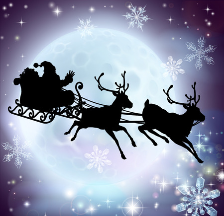 santa and sleigh: Santa flying in his sleigh with reindeer in front of a full moon in silhouette Illustration