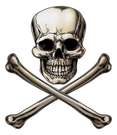 An illustration of a Jolly Roger or poison skull and crossbones sign Illustration