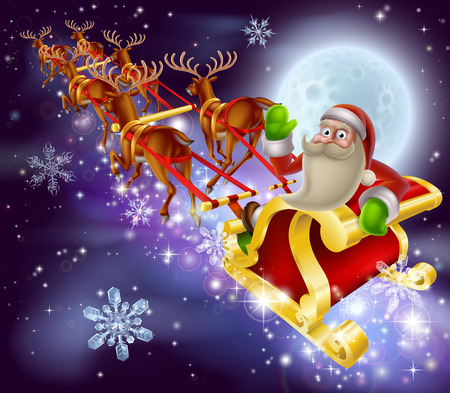 santaclause: A Santa Claus sleigh Christmas scene of Santa Claus flying through the air on his sled being pulled by reindeer with snowflakes and full moon Illustration