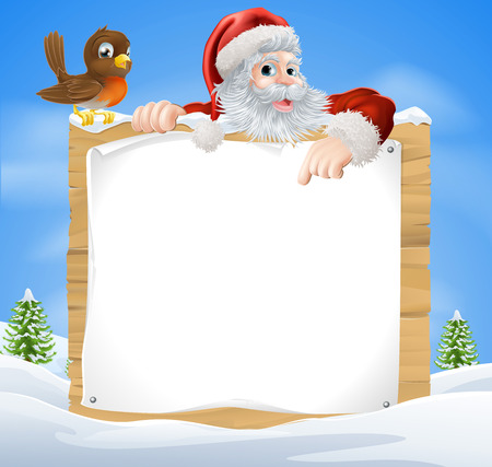christmas landscape: A Christmas snow scene with Santa Claus and a cute cartoon Robin above a wooden sign