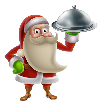 Cartoon Santa Claus cooking Christmas dinner food, with Santa holding a silver platter Vector