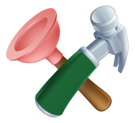 caretaker: Crossed plunger and hammer tools icon of cartoon tools crossed, construction or DIY or service concept