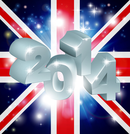 Union Jack flag of United Kingdom 2014 background. New Year or similar concept Vector