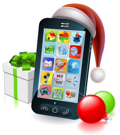 A mobile cell phone with a Santa hat and Christmas baubles and gift with ribbon bow Vector