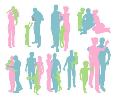niños caminando: Alta calidad y siluetas muy detalladas de una familia feliz joven madre y el padre y el niño, en varias poses