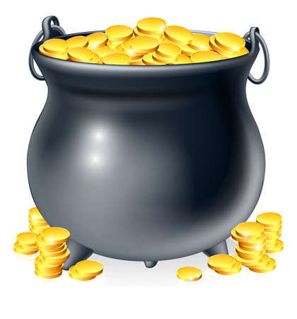 end of rainbow: Illustration of cauldron or a black pot full of gold coins