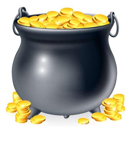 monete antiche: Illustrazione di calderone o una pentola nera piena di monete d'oro