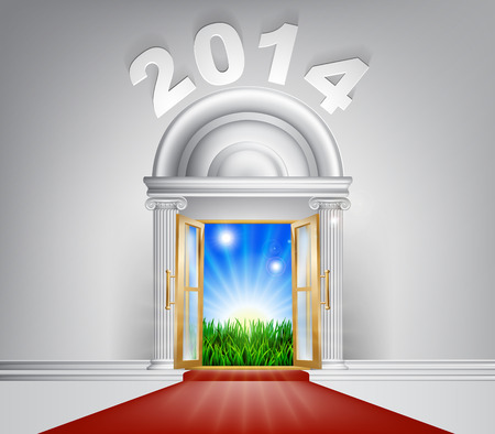 A conceptual illustration of a New Year 2014 door entrance opening onto a field of lush green grass. Concept for a happy future, or hope for it. Vector