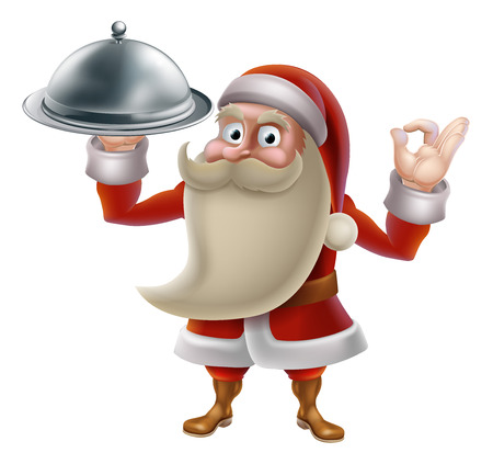 Santa Claus character cooking Christmas dinner food. Cartoon Santa in an holding a silver food platter and doing a perfect gesture Vector