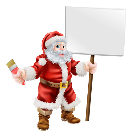 Cartoon illustration of Santa holding a spanner and sign, great for decorator or hardware shop Christmas sale or promotion Vector