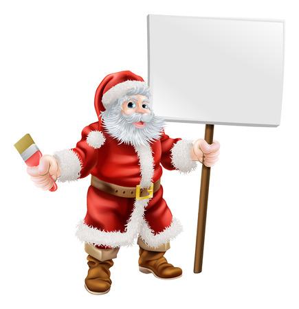 handy man: Cartoon illustrazione di Babbo possesso di una chiave e segno, ottimo per decoratore o negozio di ferramenta Vendita di Natale o di promozione