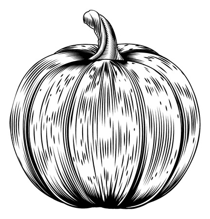 A vintage retro woodcut print or etching style pumpkin illustration Vector