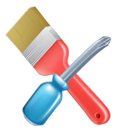 handy man: Attraversata cacciavite e gli strumenti pennello icona di strumenti di cartoni animati incrociate, costruzione o fai da te o il concetto di servizio