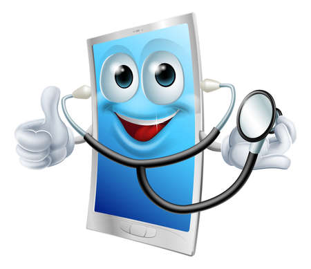 cellphone in hand: A cartoon phone mascot  holding a stethoscope and doing thumbs up