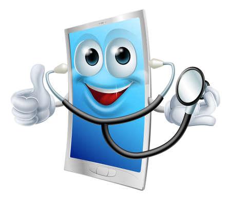 telefono caricatura: Una mascota de teléfono de dibujos animados con un estetoscopio y haciendo pulgares arriba