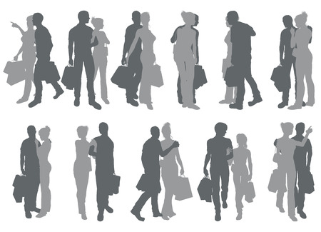 High quality detailed silhouettes of a young couple out having fun shopping Vector