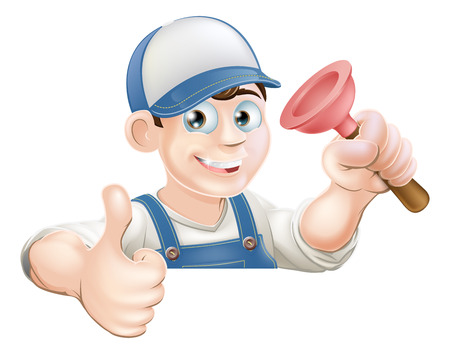handy man: Un idraulico o bidello in possesso di uno stantuffo e dando un pollice in alto, mentre d� una occhiata sopra un cartello o un banner