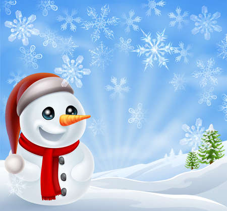 snow covered: A cartoon snowman standing in a snow covered Christmas landscape winter scene