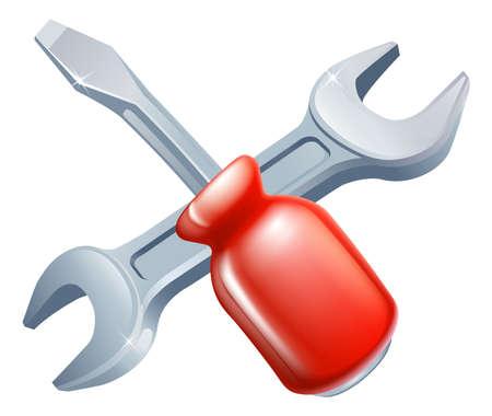 tornillos: Icono cruzado destornillador y llave inglesa herramientas de herramientas de dibujos animados cruzado, la construcci�n o bricolaje o concepto de servicio