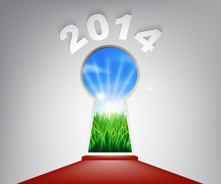 new opportunity: A conceptual illustration of a New Year 2014 keyhole entrance opening onto a field of lush green grass. Concept for a new life or opportunity in the new year