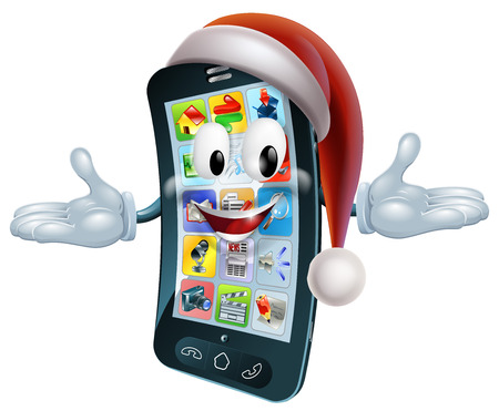 mobile cartoon: Illustration of a Christmas phone mascot character wearing a Santa hat