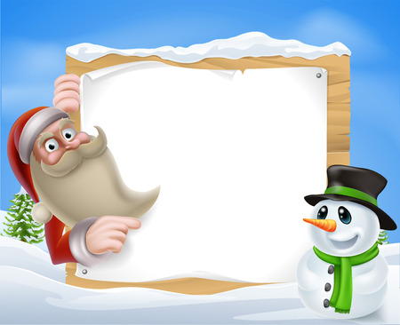 A Santa Christmas Winter Scene of Santa pointing at a winter sign with a friendly snowman Vector
