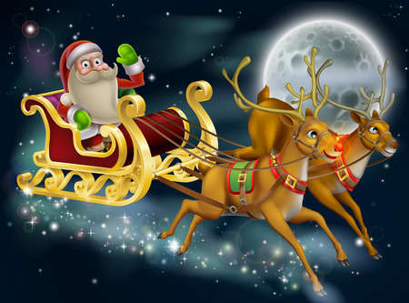 santas sleigh: Santa Claus sleigh scene of Santa in his sleigh being pulled through the sky with his reindeer  Illustration