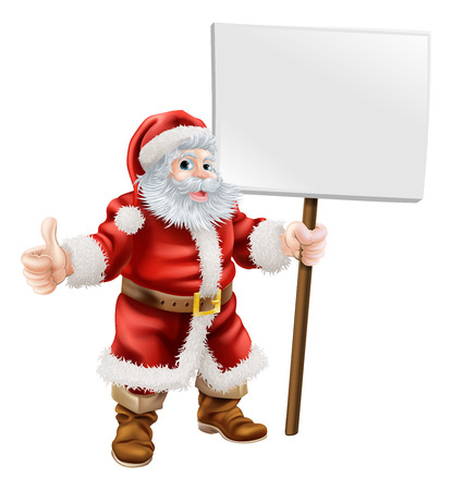Cartoon illustration of Santa holding sign and doing thumbs up Vector