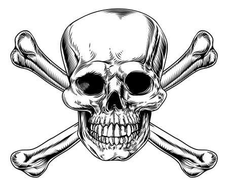 skull and crossed bones: Calavera y tibias cruzadas signo en madera en un estilo o corte de la vendimia