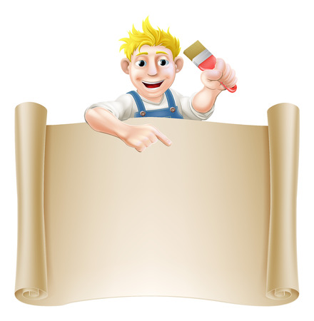 A painter decorator holding a paintbrush and peeking over a scroll banner and pointing Vector