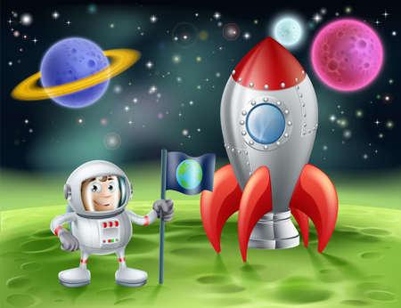 Una ilustración de un fondo de dibujos animados del espacio exterior con un astronauta de dibujos animados lindo de plantar una bandera de la tierra en un mundo extraño con su cohete brillante de la vendimia