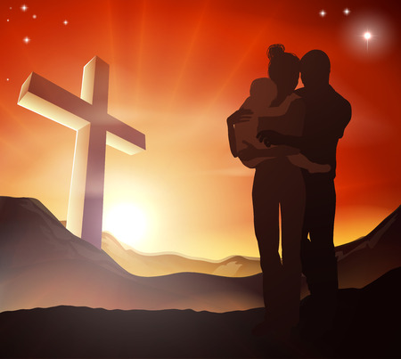 church service: A Christian family with a cross in a mountain landscape and a sunrise over mountains landscape, Christian family life concept Illustration
