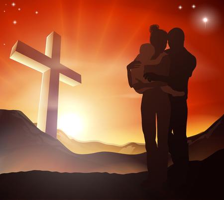 alabando a dios: Una familia cristiana con una cruz en un paisaje de montaña y un amanecer en las montañas del paisaje, el concepto de la vida familiar cristiana