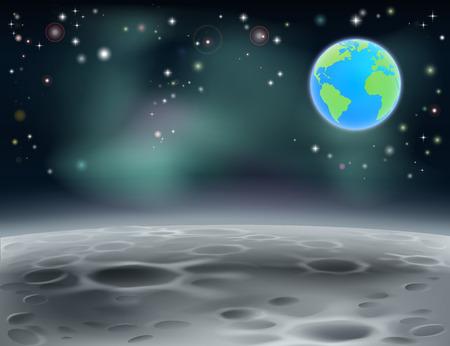 superficie: Superficie de la luna paisaje de fondo con estrellas, cráteres y el planeta tierra en el fondo